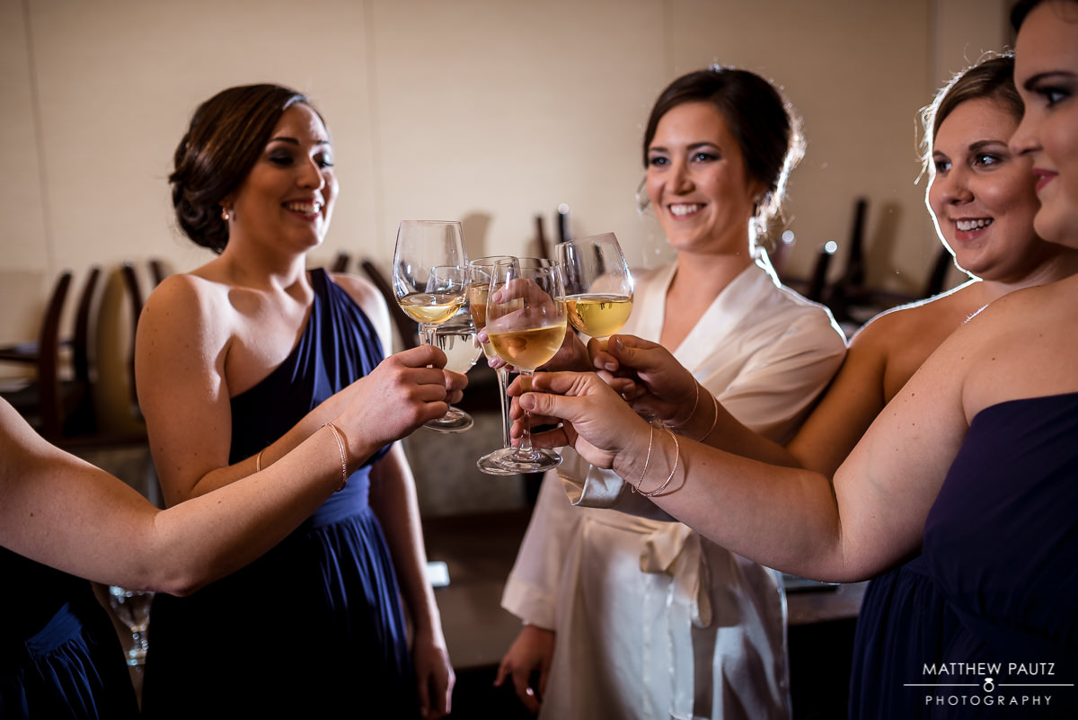 Commerce Club Wedding Photos | bridesmaids toast