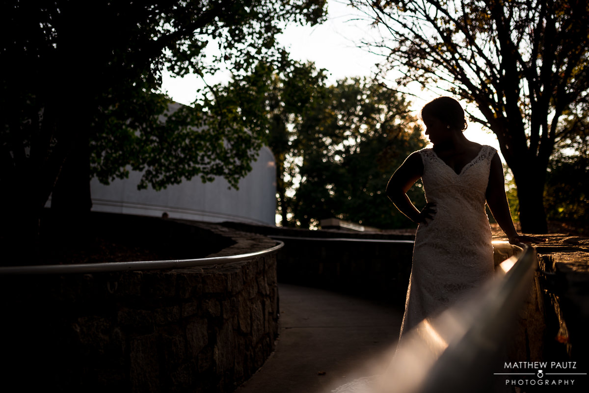 silhouette of bride in a botanical garden in Atlanta