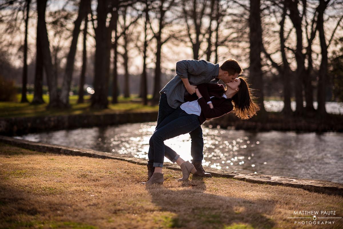 man giving woman passionate kiss at Furman University
