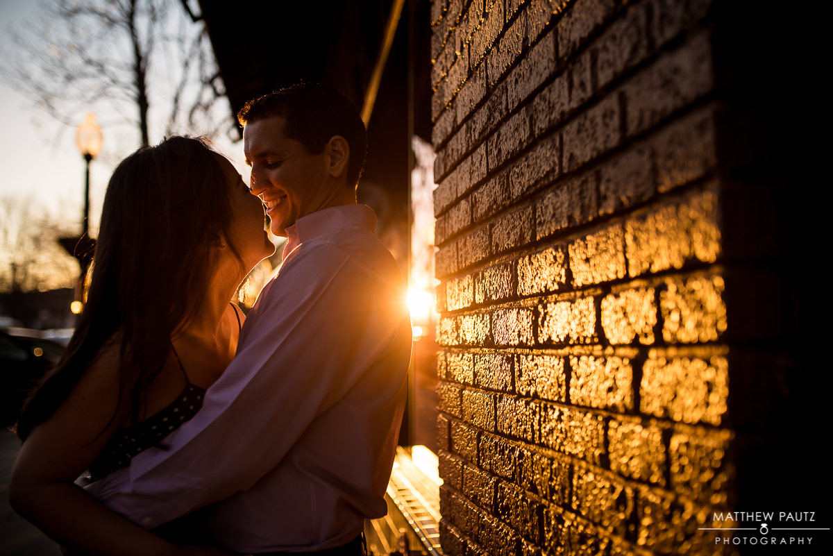 Downtown Greenville SC sunset engagement photos