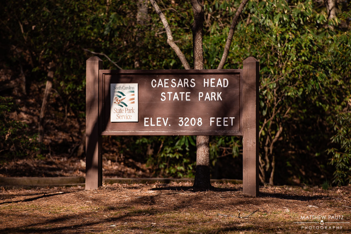 Caesars Head State Park elevation sign