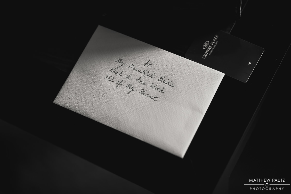 Closeup of love letter on wedding day