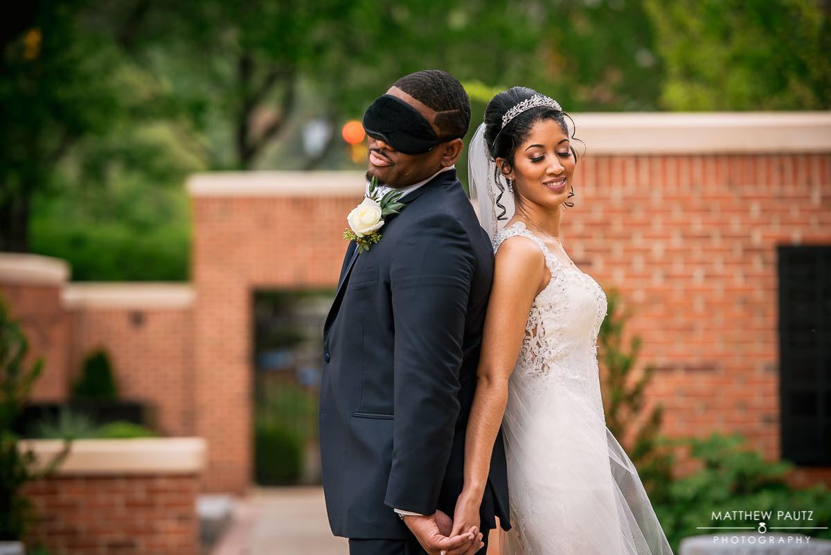 Bride and groom 'no look' ceremony