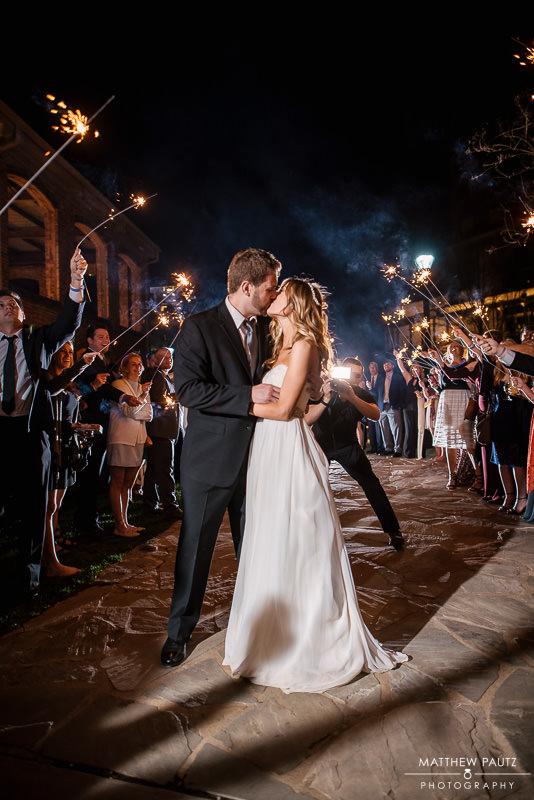 Sparkler exit at wyche pavilion wedding