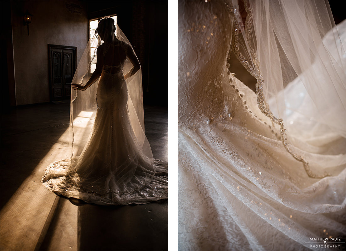 bridal portrait in front of sunny window