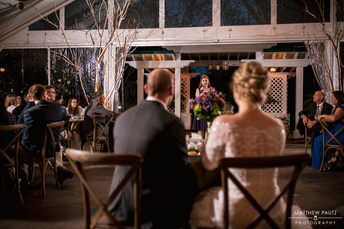 Wedding toasts at Twigs Tempietto reception