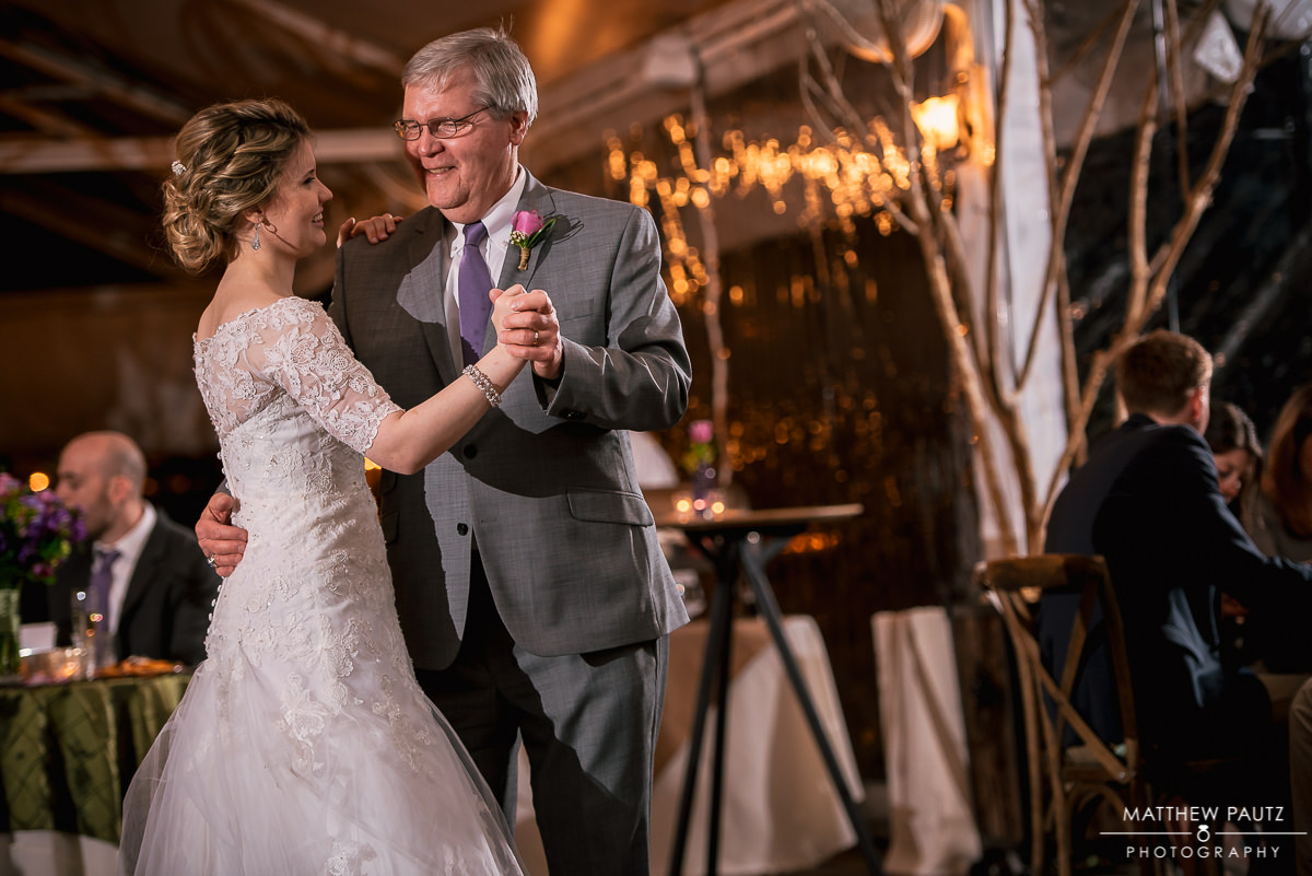 Father of bride dancing with bride at twigs tempietto