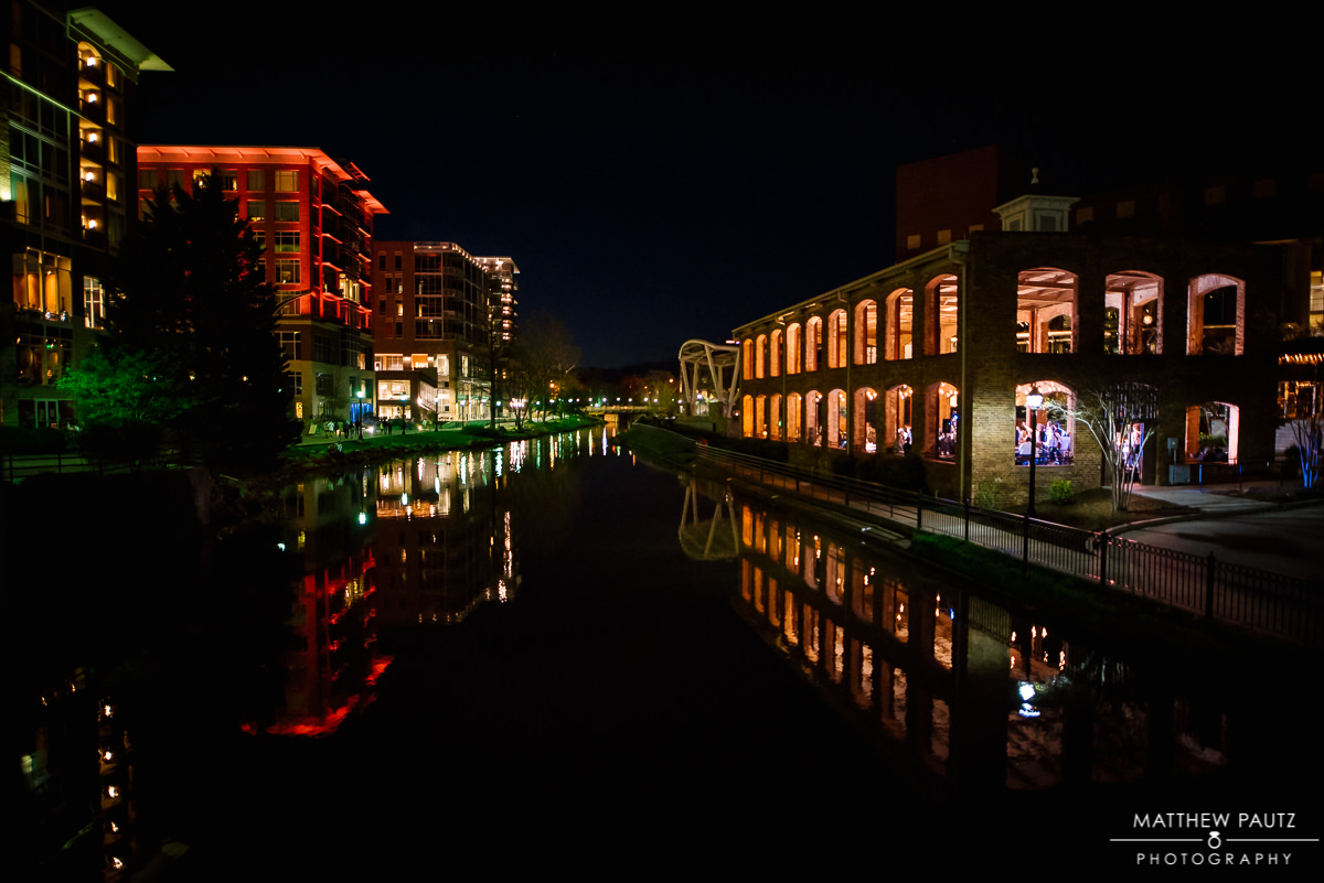 Greenville SC Falls Park on the Reedy at Night