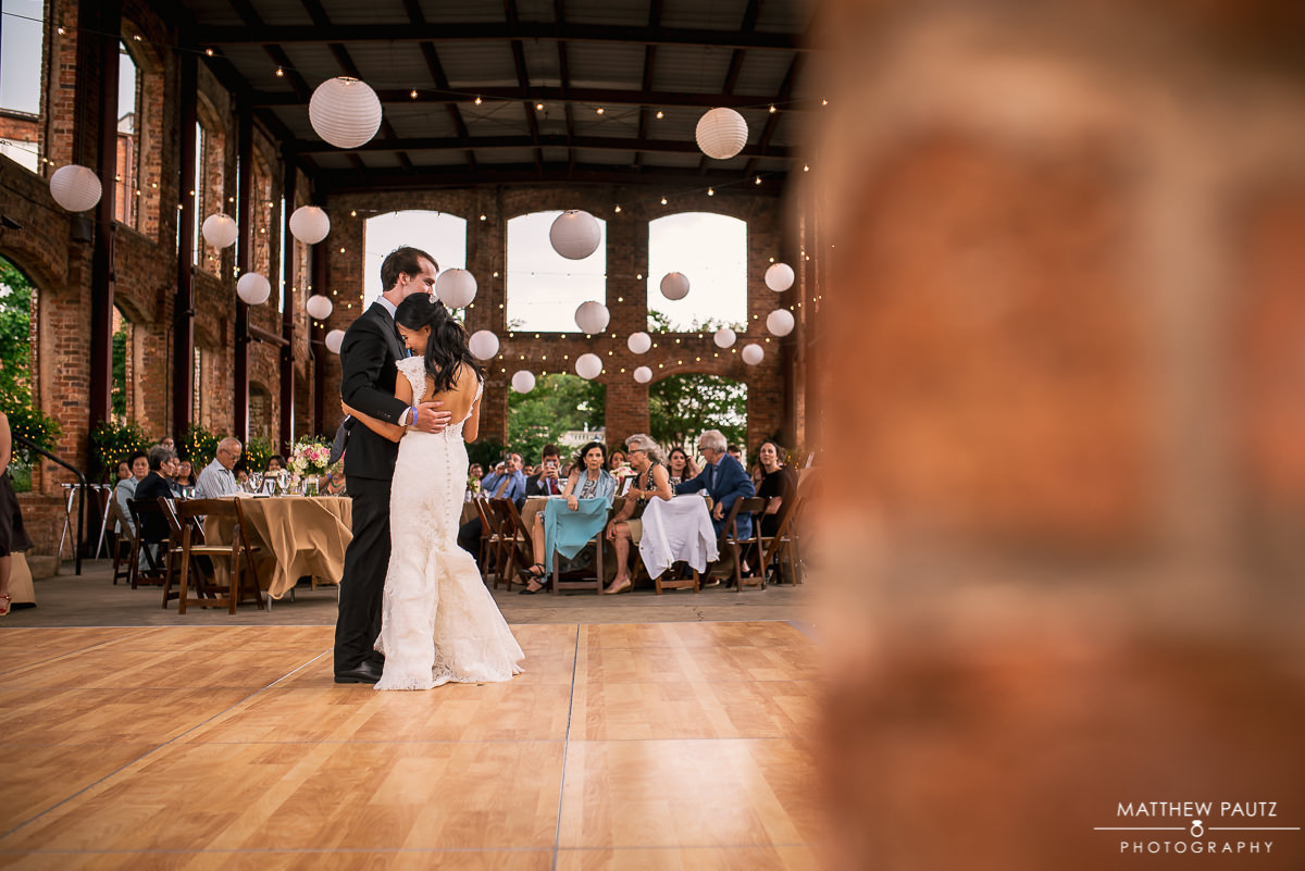 Bride and groom's first dance at wyche pavilion, greenville sc