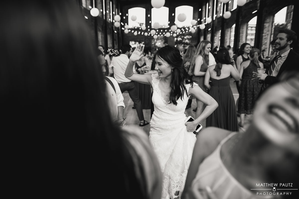 Bride dancing at wyche pavilion reception