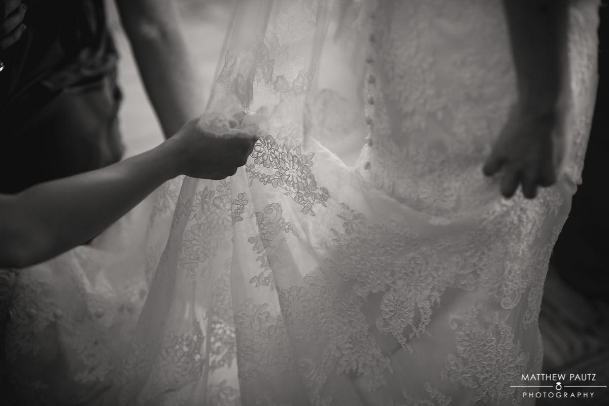 closeup of detail on wedding dress veil